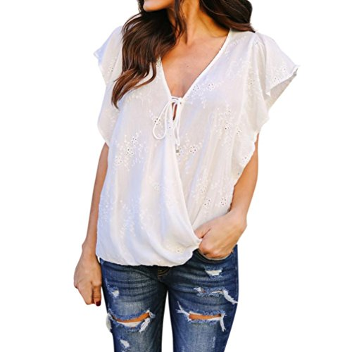 Bravetoshop Women V Neck Short Sleeve Hollow Flower Loose Blouse Tie Detail Tops T-Shirt (White, L)