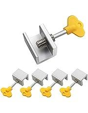 5 Sets Adjustable Sliding Window Locks Stop Aluminum Alloy Window Door Frame Security Lock with Keys