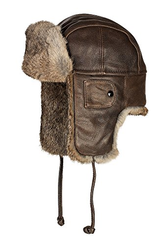 (Vintage Leather Aviator Hat with Rabbit Fur Trim)