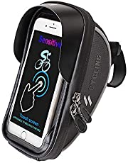Laxstory Bike Handlebar Bag Bike Pouch, Waterproof Universal Bicycle Rear Handlebar Pouch with Water Resistant Frame Transparent Touchable Case for iPhone Samsung LG Sony Smartphone up to 6''