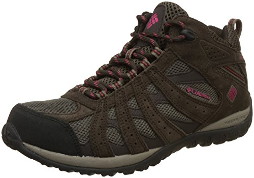 Columbia Women's Redmond Mid Waterproof Trail Shoe, Mud/Red Orchid, 10 M US by Columbia