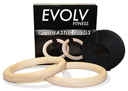 """EVOLV FITNESS Gymnastics Rings 1.1"""" - Wooden Gymnastic Rings With Adjustable Straps For Home - Heavy Duty Olympic Wood Gym Ring Set - Suspension Strength Training, Bodyweight Training"""