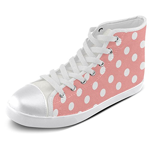 Artsadd Personnalisé Corail Rose Polka Dots Haut Chaussures De Toile Pour Les Hommes (model002)