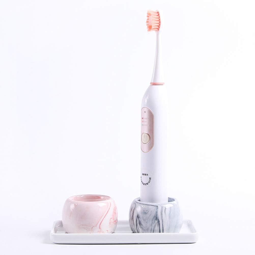 Pink Grey SUPVOX Mini Round Ceramics Toothbrush Base Marble Toothbrush Holder 2PCS