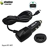 Dash Cam Charger, Plozoe Car Dash Cam USB Power Cable Cord Vehicle Charging Adapter for Garmin GPS Nuvi、Mirror Cam、Dash Cam Power Cable(Mini USB 11.5ft)