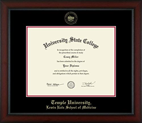 Temple University Lewis Katz School of Medicine - Officially Licensed - Gold Embossed Diploma Frame - Diploma Size 14