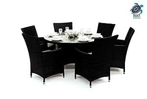 Reef Rattan Tobago 7 Pc Round Dining Set - Black Rattan / Taupe Cushions