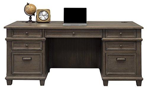 Martin Furniture IMCA680 Double Pad Desk, Weathered Dove (Executive Antique Desk)