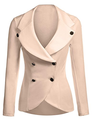 (ELESOL Casual Fitted Long Sleeve Button Blazer Jacket for Women Work)