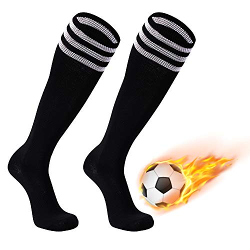 FOOTPLUS Baseball Socks, Mens Womens Boys Girls Triple Stripe Knee High School Uniform Compression Team Athletic Soccer Socks, 2 Pairs Black+White Stripe, ()