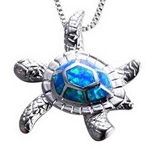 Fortonatori Created Blue Opal Necklace Turtle longevity 925 Silver Pendant Necklace 16'' (Turtle Style B) by Fortonatori