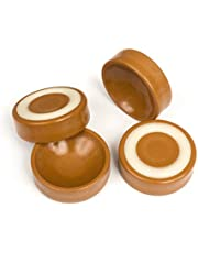 Slipstick CB600 Furniture Wheel Caster Cups/Floor Protectors with Non Skid Rubber Grip (Set of 4 Grippers) 45mm (1-3/4 Inch) - Caramel