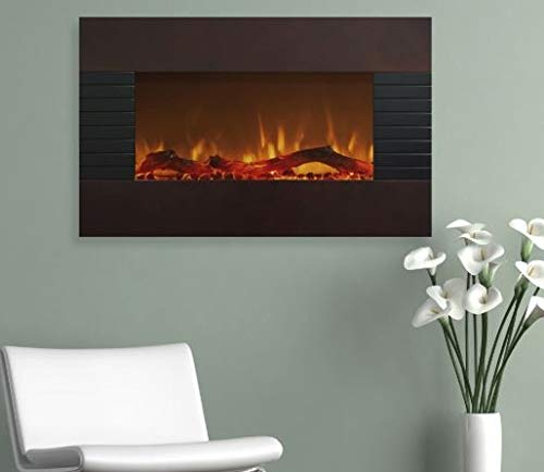 Wall Mount Fireplace Electric Fireplace Heater- Mahogany Gla