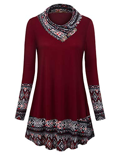 Gaharu Christmas Sweatshirt Women Burgundy Cute Reindeer Printed Long Sleeve Warm Casual Athleisure Classy Designer Tops 2018 Super Soft Comfort Flyaway Daily Wear((Wine Red,S)