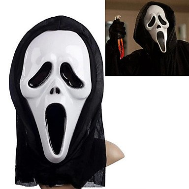 QINF White Ghost Mask with Head Cover Scream Practical Joke Scary Cosplay Gadgets for Halloween Costume (Costumes Jokes)