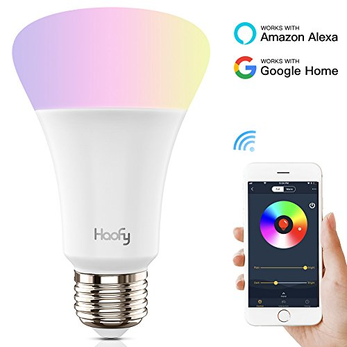 Smart WiFi LED Light Bulb,Haofy Wireless Dimmable LED Bulbs,Party Light Bulb, Multicolored Night Light for IOS/Android,No Hub Required,Works with Amazon Alexa and Google Home(E26/E27,5W,500lm,1 Pack)