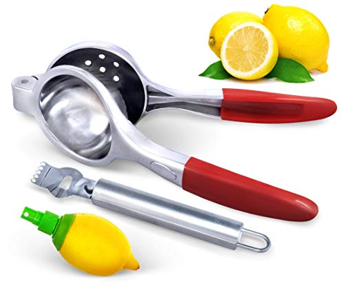 Aprika Lime Squeezer w Zester Peeler and Lemon Spritzer Manual Juicer Citrus Press, Extra Large, Silicone Handles, Heavy Duty