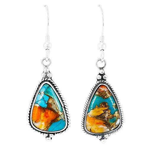 Spiny Turquoise Earrings 925 Sterling Silver & Genuine Turquoise (Spiny Turquoise)