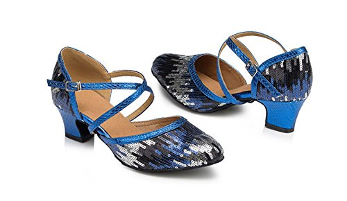 Sequins Latin Comfort Strap Salsa Dance Blue Ballroom Modern Ankle Tango Glitter Womens Shoes Wedding TDA qYFwXY