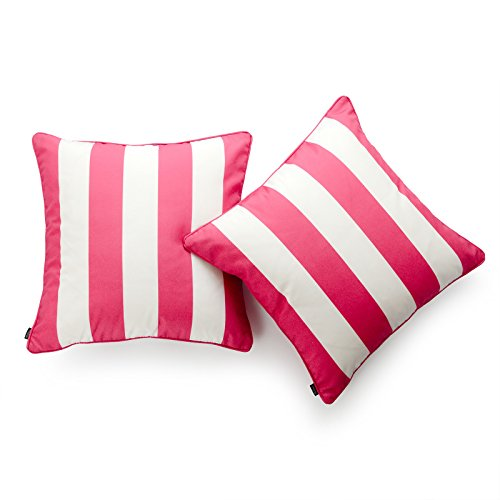 Hofdeco Decorative Throw Pillow Cover INDOOR OUTDOOR WATER RESISTANT Canvas Hot Pink Stripes 18