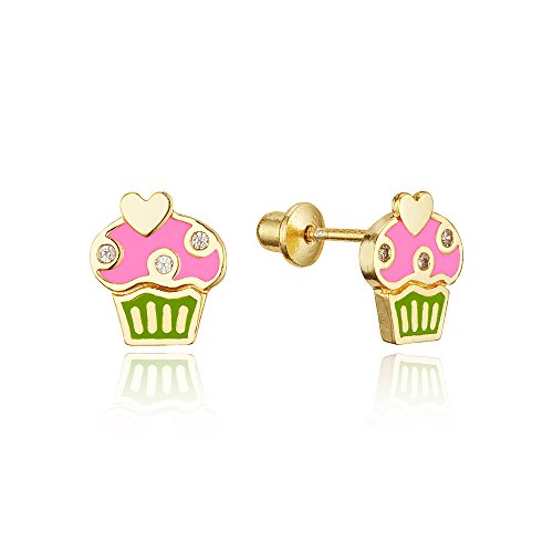 14k Gold Plated Enamel Cupcake Baby Girls Screwback Earrings with Sterling Silver Post