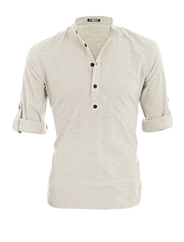 uxcell Men Long Roll Up Sleeves Heathered Henley Shirt Off White M US 40