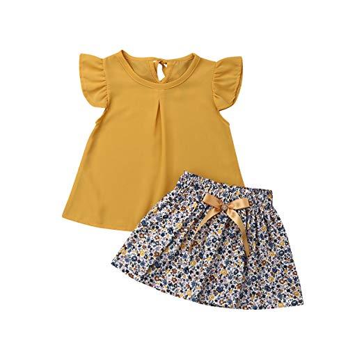 MSDMSASD Toddler Baby Kids Girl Clothes Short Sleeve Ruffle Dress Top+Floral Skirt Pants 2Pcs Outfits Set (Yellow, 110)