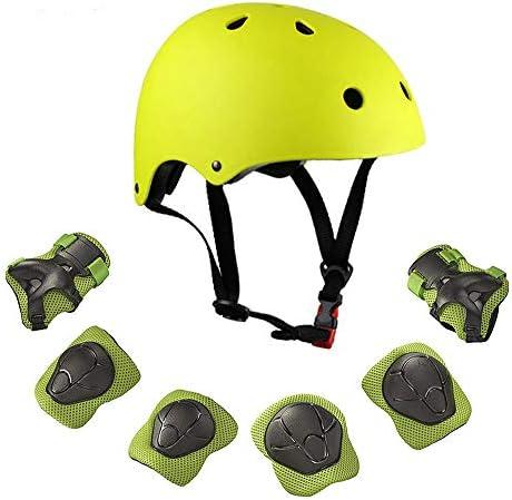 Warm House キッズ 幼児用保護ギアとヘルメットセット 3~8歳 キッズ用ヘルメットとパッドセット [膝パッド、手首パッドと肘パッド] スケートボード、スケート、スクーター、ローラーブレード、サイクリング用