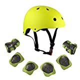 Warm House Kids Toddler Protective Gear and Helmet Sets,3 to 8 Years Old Kids Helmet and Pads Set[Knee Pads,Wrist Pads and Elbow Pads] Yellow