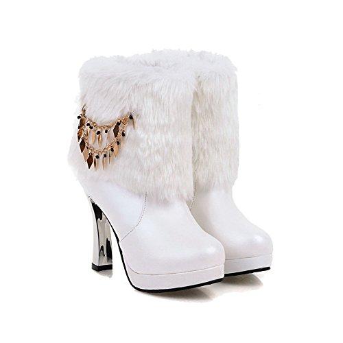 AgooLar Damen Rund Zehe Hoher Absatz Niedrig-Spitze Eingelegt Stiefel mit Kette Weiß