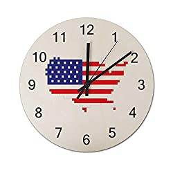 Pixel USA Flag Patriotic 4th of July Gamer Gaming Silent Non Ticking Wall Clock, Wooden Decorative Round Wall Clock Battery Operated