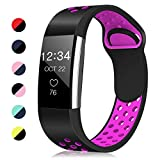 Humenn Silicone Sport Bands Compatible for Fitbit Charge 2, Replacement Accessory Air Holes Band Compatible for Fitbit Charge 2 HR