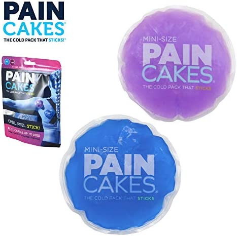"PAINCAKES Mini The Cold Pack That Sticks & Stays in Place- Reusable Cold Therapy Ice Pack Conforms to Body, 1 Set Mini (1 Purple, 1 Blue- 2.88"")"