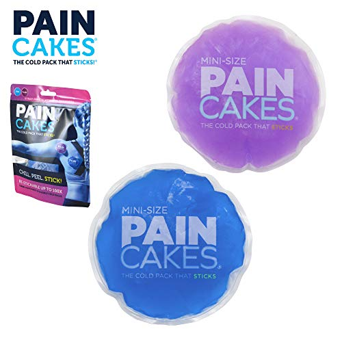 - PAINCAKES Mini The Cold Pack That Sticks & Stays in Place- Reusable Cold Therapy Ice Pack Conforms to Body, 1 Set Mini (1 Purple, 1 Blue- 2.88