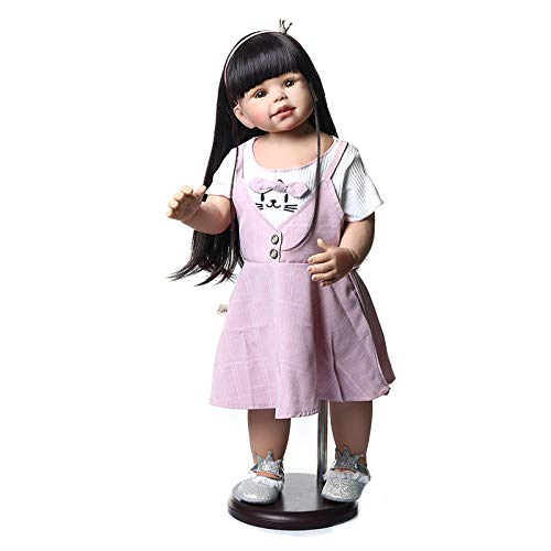 Reborn Toddler Girls Full Body Hard Vinyl 28 inch 70CM Big Size Real Life Black Long Hair Baby Dolls That Can Stand Waterproof Toys for Childen Play House