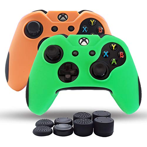 Price comparison product image Xbox One Controller SkinSilicone Grips Pack 2 for Xbox One X / One Slim Controller Cover Dual Thicker Anti Slip Grip Case Protector - 8pcs Pro Thumb Grips-Orange, Green