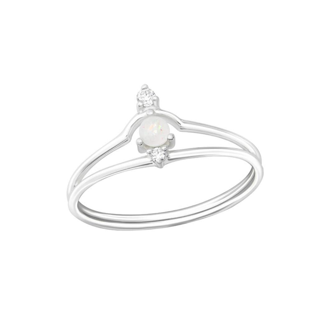 Polished Nickel Free Liara Geometric Jeweled Rings 925 Sterling Silver