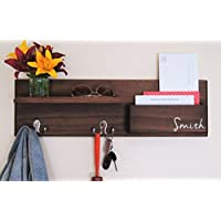 Coat Rack Wall Organizer with Mail Storage and Key Hooks Personalized