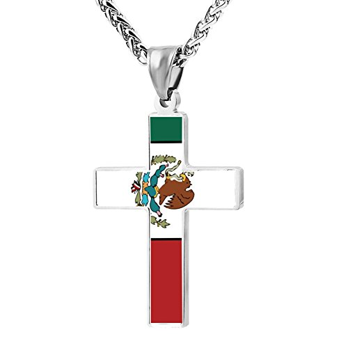 Beufun Zinc Alloy Chain Cross Pendant Necklace Mexican Flag 3D Printed Jewelry for Men Women
