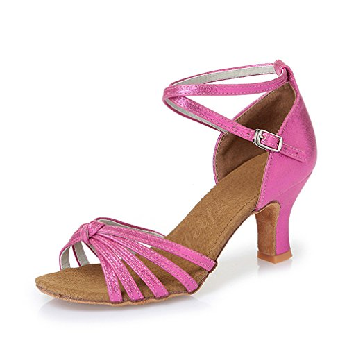 BYLE Sandalias de Cuero Tobillo Modern Jazz Samba Zapatos de Baile Zapatos de Baile Latino América Zapatos de Baile Hembra Adulta Fondo Blando de Tacón Alto Polvo PU 35