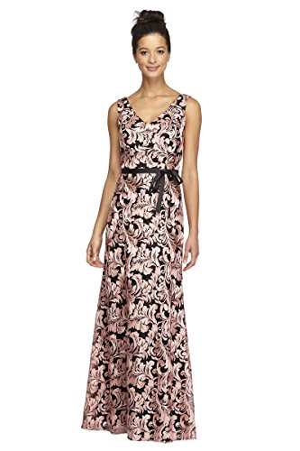 Alex Evenings Long Embroidered Dress with Ribbon Tie Belt Black Coral ()