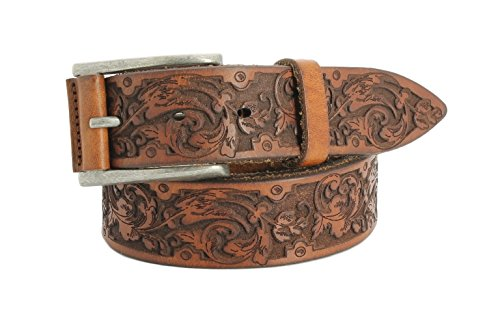 Remo Tulliani Men's 35mm Wide Boris Embossed Italian Leather Dress Belt