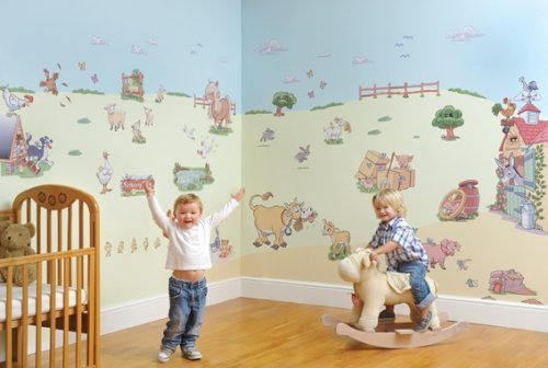 FunToSee Funberry Farm Nursery and Bedroom Make-Over Decal Kit, Farmyard