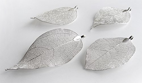 Leaf Pendant - Natural Electroplated Filigree Metal Leaf BEEZZY BEEDZ (.925 Sterling Silver (Silver Leaf Pendant)