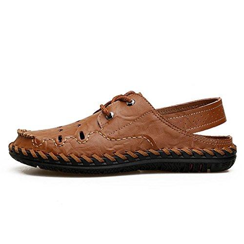 En La Coudre Hommes Plage Chaussures Classique À À Dark Casual Respirant Main Mâle Sandales Sandalias Cuir Véritable Brown Été 0PSq5F