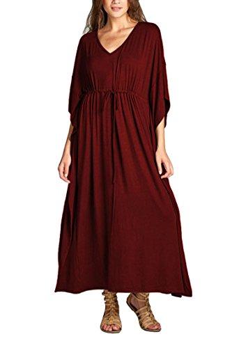 Pink Queen Women's V Neck Dress Batwing Sleeve Loose Homewear Wrap Dress L Wine Red -
