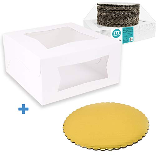 [25 Boxes and 25 Circles Pack] 8x8x4 White Pie/Cake Box with Window and 8 Inch Round Gold Base Board - Cardboard Gift Packaging for Cupcake, Cookie, Pastry, Auto-Popup Restaurant Bakery Containers