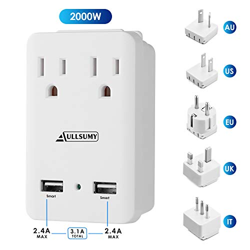 AULLSUMY 2000W Worldwide Travel Adapter Kit-Universal Electrical Adapters 2 USB Ports 2 US Outlets Travel Power Charger,International Travel Adapter Plug for Europe UK Australia Italy China ()