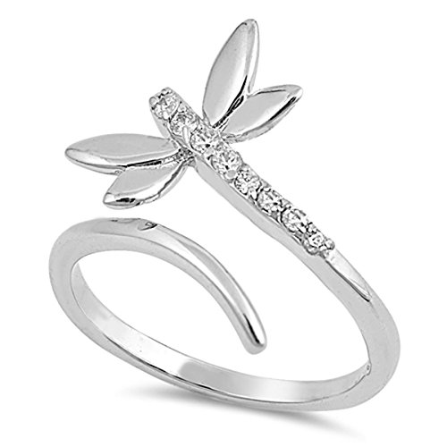 Sterling Silver Women's Open Micro Pave Dragonfly Ring (Sizes 5-10) (Ring Size 9)
