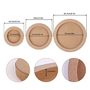 Wood Canvas Boards for Painting, Dedoot 3 Pcs Round Unfinished Wood Paint Pouring Panel Boards, 0.6″ Deep Cradle Artist Wood Painting Boards for Painting, Art & Craft (5.7″, 7.8″ & 9.7″ Diameter)